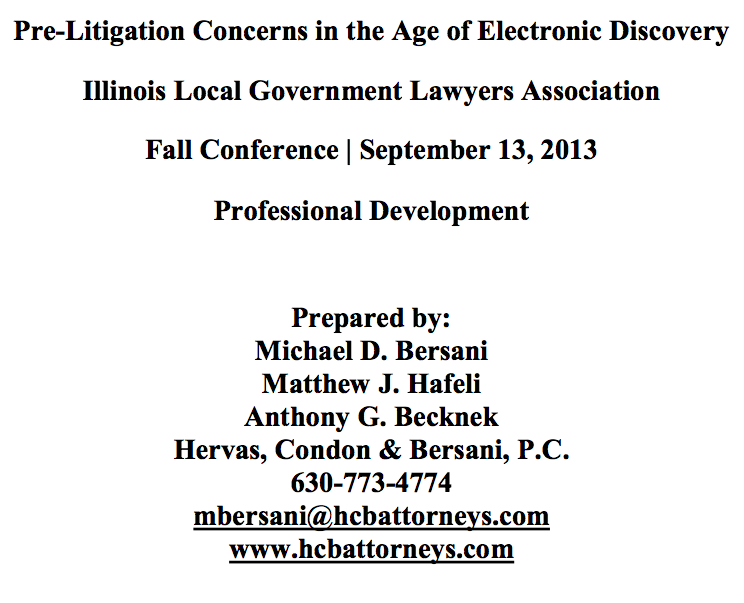 Pre-Litigation Concerns in the Age of Electronic Discovery